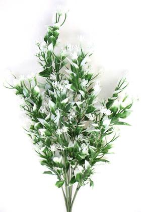 Yapay Çiçek Deposu - Yapay Çiçek Beyaz Mini Çiçekli Yeşillik Demeti
