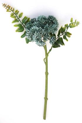 Yapay Çiçek Deposu - Yapay Brokoli Bitkisi Tek Dal 28 cm Turkuaz