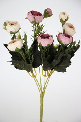 Yapay Çiçek Deposu - Yapay Çiçek Pastel Şakayık Gül Demeti 30cm Krem-Pembe