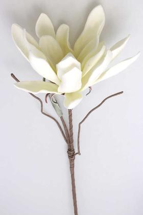 Yapay Çiçek Deposu - Exclusive Tropik İri Çiçekli Egzotik Lateks Dal 105 cm Kırık Beyaz