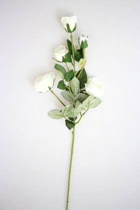 Yapay Çiçek Deposu - Yapay Çiçek Uzun Dal 5li Gül 75 cm Beyaz