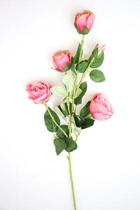 Yapay Çiçek Deposu - Yapay Çiçek Uzun Dal 5li Gül 75 cm Pembe