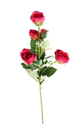 Yapay Çiçek Deposu - Yapay Çiçek Uzun Dal 5li Gül 75 cm Bordo