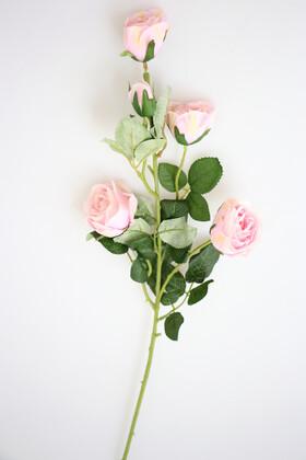 Yapay Çiçek Deposu - Yapay Çiçek Uzun Dal 5li Gül 75 cm Açık Pembe