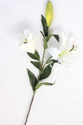 Yapay Çiçek Deposu - Yapay Çiçek Uzun Dal Lüx 2li Lilyum 90 cm Beyaz