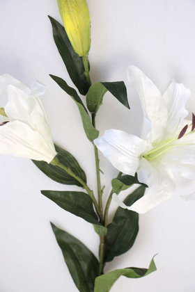 Yapay Çiçek Uzun Dal Lüx 2li Lilyum 90 cm Beyaz - Thumbnail