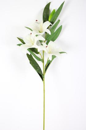 Yapay Çiçek Deposu - Yapay Çiçek Islak Lilyum Zambak Dal 95 cm Beyaz