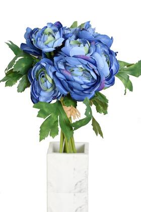 Yapay Çiçek Deposu - Yapay Çiçek Yassı Şakayık Gül Buketi Saks Mavi