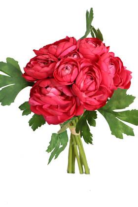 Yapay Çiçek Deposu - Yapay Çiçek Yassı Şakayık Gül Buketi Fuşya