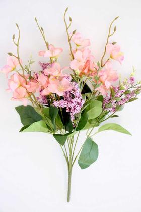 Yapay Çiçek Deposu - Yapay Çiçekli Kaliteli Cipso Ara Dal Demeti 40 cm Açık Pembe