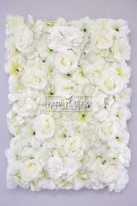 Yapay Çiçek Deposu - Yapay Lüx Duvar Çiçeği Ortanca ve Gül Zemin Kaplama Duvarı 40x60 cm Krem