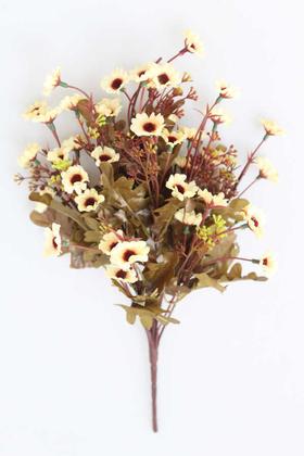 Yapay Çiçek Deposu - Yapay Cipsolu 10 Dal Papatya Demeti Krem