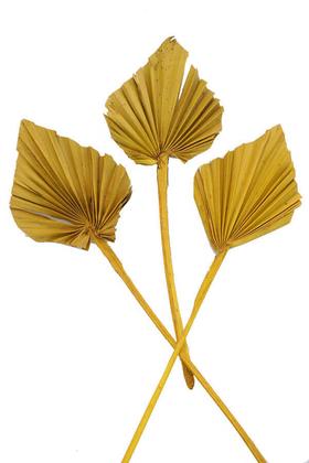 Yapay Çiçek Deposu - 3lü Kuru Tropic Palm Spear Hardal Sarı