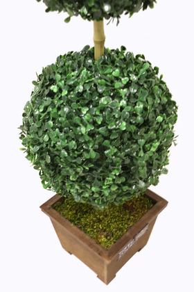 Yapay Çiçek Deposu - Yapay Ağaç Dekoratif 2 Katlı Küçük Top Şimşir 70 cm