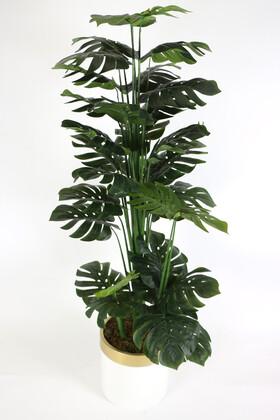 Yapay Çiçek Deposu - Yapay Deve Tabanı Ağacı Metal Saksıda 180 cm (Monstera Deliciosa)