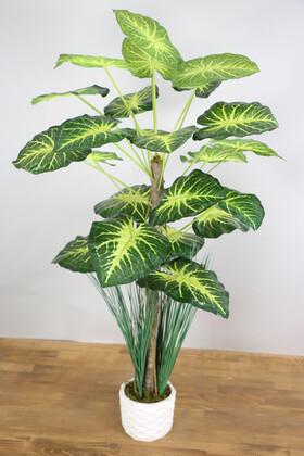 Yapay Çiçek Deposu - Yapay Difenbahya Ağacı 105 cm Beton Saksılı Yeşil-Sarı