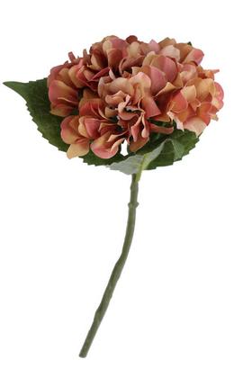 Yapay Çiçek Deposu - Yapay Fındık Ortanca Dalı 35 cm Somon-Kahve