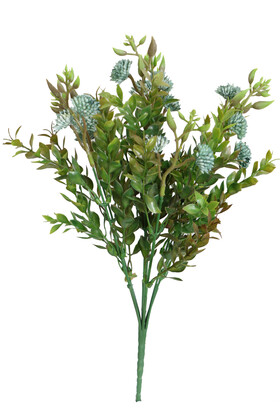 Yapay Çiçek Deposu - Yapay Garnitürlü Çalı Bitkisi 35 cm Turkuaz