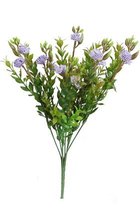 Yapay Çiçek Deposu - Yapay Garnitürlü Çalı Bitkisi 35 cm Lila