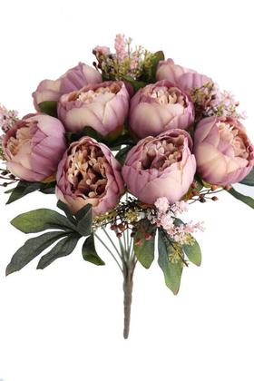 Yapay Çiçek Deposu - Yapay Çiçek 12 Dallı Lüx Şakayık Gül Aranjmanı Pudra Mor