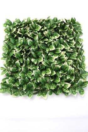 Yapay Çiçek Deposu - Yapay Portakal Yaprağı Model Duvar Bitki Kaplaması 50x50 cm Yeşil-Beyaz