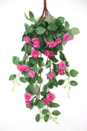 Yapay Çiçek Deposu - Yapay Güllü Sarkan Sarmaşık 80 cm Koyu Pembe