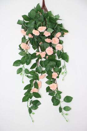Yapay Çiçek Deposu - Yapay Güllü Sarkan Sarmaşık 80 cm Somon