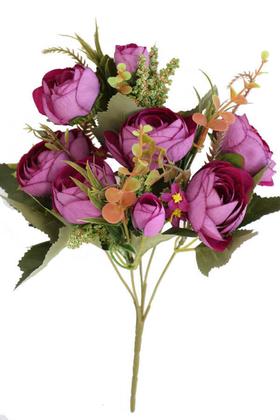 Yapay Çiçek Deposu - Yapay İri Kafa Küçük Demet Şakayık Mor