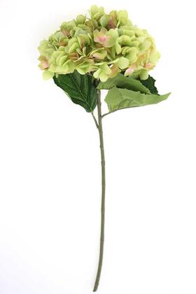 Yapay Çiçek Deposu - Yapay İri Kafa Premium Kaliteli Ortanca Dalı 83 cm Fıstık Yeşili