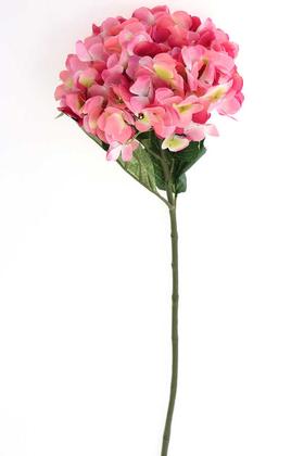 Yapay Çiçek Deposu - Yapay İri Kafa Premium Kaliteli Ortanca Dalı 83 cm Koyu Pembe
