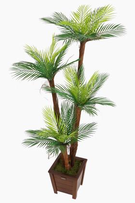 Yapay Çiçek Deposu - Yapay Islak Dokulu Fenix Sıkas Ağacı 4 Gövdeli 160 cm