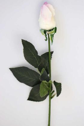 Yapay Çiçek Deposu - Yapay Islak Gonca Gül 44 cm Beyaz-Pembe