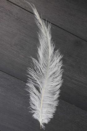 Yapay Çiçek Deposu - Küçük Deve Kuşu Tüyü 30 cm Beyaz