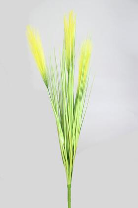 Yapay Çiçek Deposu - Yapay Kabarık Tüylü Saz 72 cm Yeşil-Yeşil