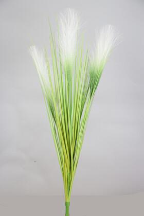 Yapay Çiçek Deposu - Yapay Kabarık Tüylü Saz 72 cm Yeşil-Beyaz
