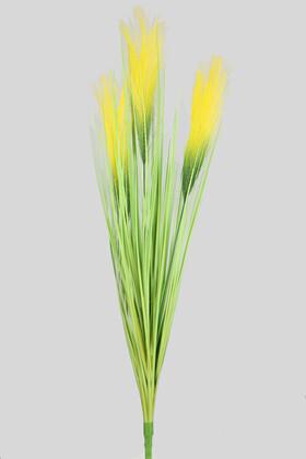 Yapay Çiçek Deposu - Yapay Kabarık Tüylü Saz 72 cm Yeşil-Sarı