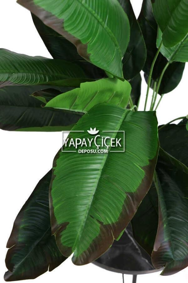 Yapay Çiçek Beton Saksıda18 Dallı Lüx Egzotik Bitki 65cm Yeşil-Kahve