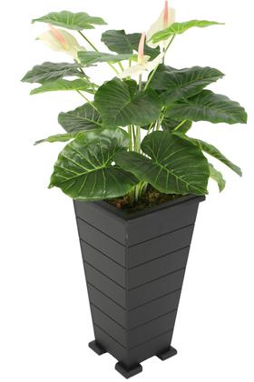 Yapay Çiçek Deposu - Konik Saksıda Yapay Lüx Antoryum Çiçeği Beyaz