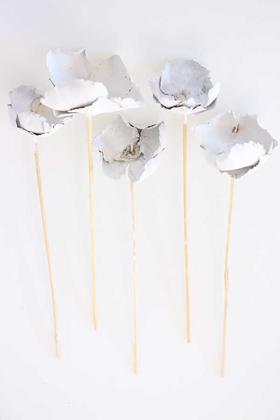 Yapay Çiçek Deposu - Kuru Çiçek 5li Palm Cup Demeti 45 cm Retro Beyaz