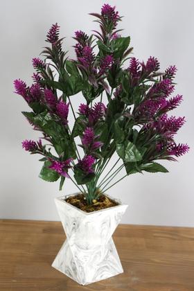 Yapay Çiçek Deposu - Beton Vazoda İri Kafa Plastik Bitki Fuşya