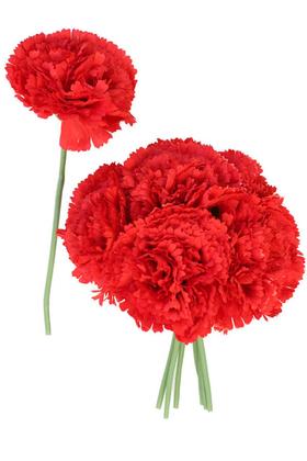 Yapay Çiçek Deposu - Yapay Çiçek 8li Karanfil Demeti Kırmızı