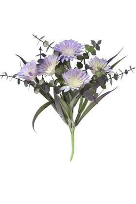 Yapay Çiçek Deposu - Yapay Okaliptuslu Yeşillik Kasımpatı Demeti 30 cm Mor