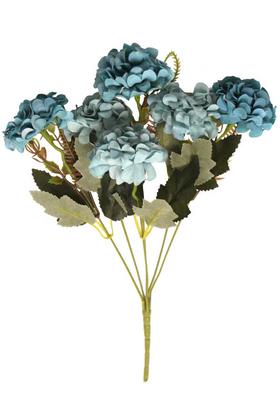 Yapay Çiçek Deposu - Yapay 6 Dal Kasımpatı Demeti Mavi