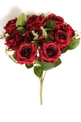 Yapay Çiçek Deposu - Yapay Çiçek 9lu Bordo Kırmızı Cipsolu Gül Demeti