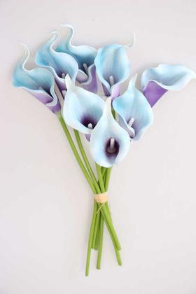 Yapay Çiçek Deposu - Yapay Çiçek Islak Gerçek Gala Çiçeği 8 Dal Erguvan