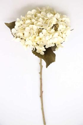 Yapay Çiçek Deposu - Yapay Koca Kafa Delüx Ortanca Dalı 50 cm Krem