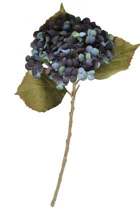 Yapay Çiçek Deposu - Yapay Koca Kafa Delüx Ortanca Dalı 50 cm Mavi-Koyu Mor