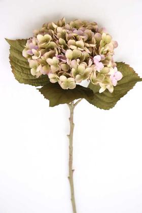 Yapay Çiçek Deposu - Yapay Koca Kafa Delüx Ortanca Dalı 50 cm Mor-Yeşil