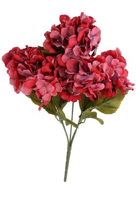 Yapay Çiçek Deposu - 5 Dal Lux Pastel Ortanca Demeti Pastel Kırmızı