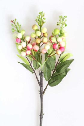Yapay Çiçek Deposu - Yapay Köpük Garnitür Dalı 50 cm Yeşil-pembe